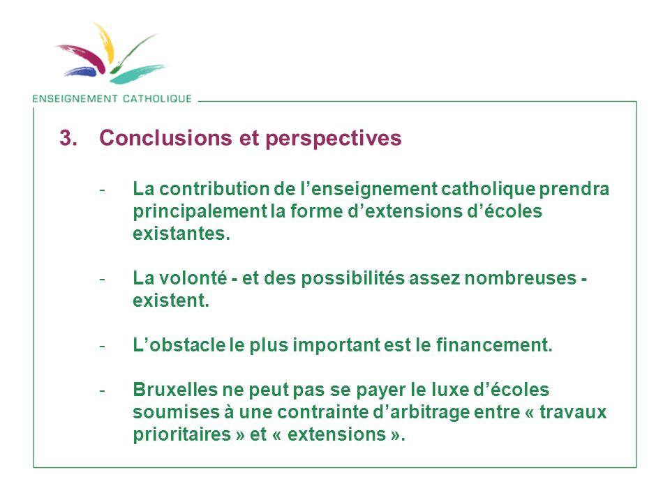 3.Conclusions et perspectives -La contribution de lenseignement catholique prendra principalement la forme dextensions décoles existantes.
