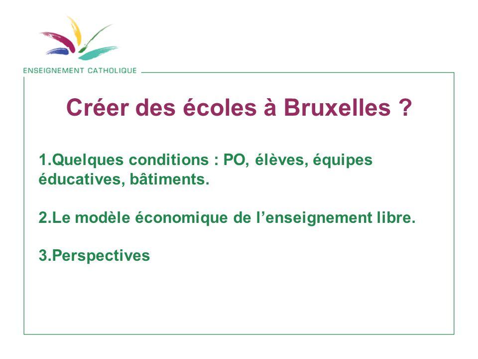Créer des écoles à Bruxelles .1.Quelques conditions : PO, élèves, équipes éducatives, bâtiments.