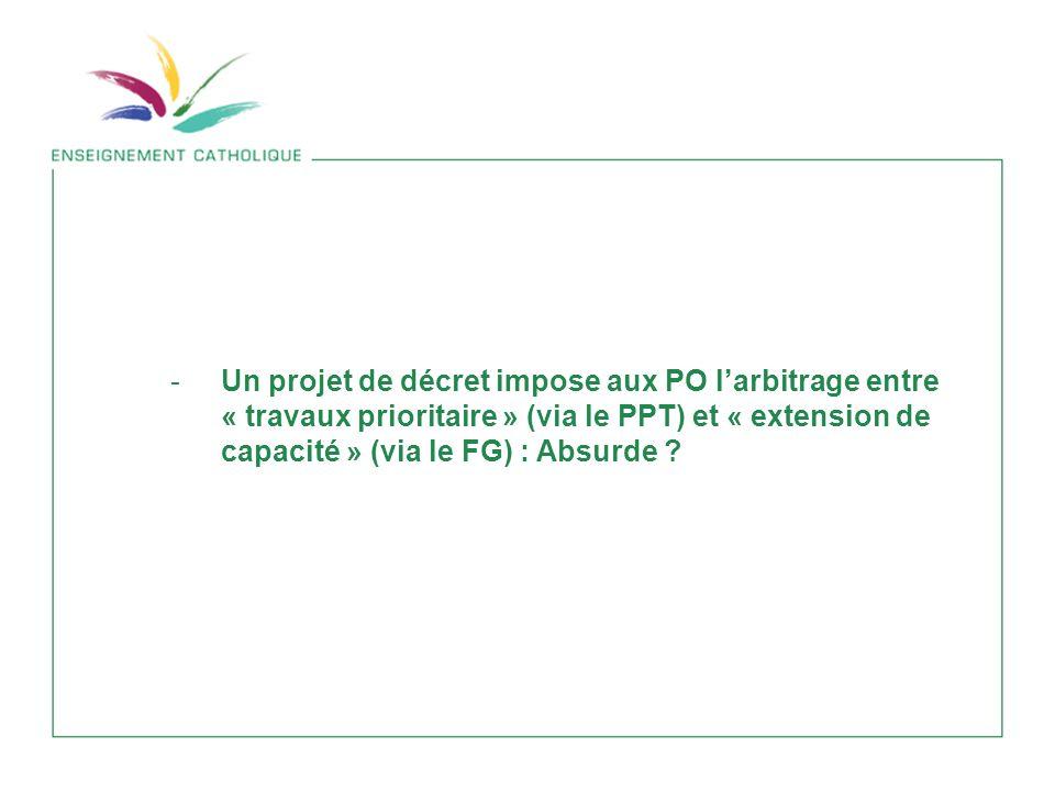 -Un projet de décret impose aux PO larbitrage entre « travaux prioritaire » (via le PPT) et « extension de capacité » (via le FG) : Absurde ?