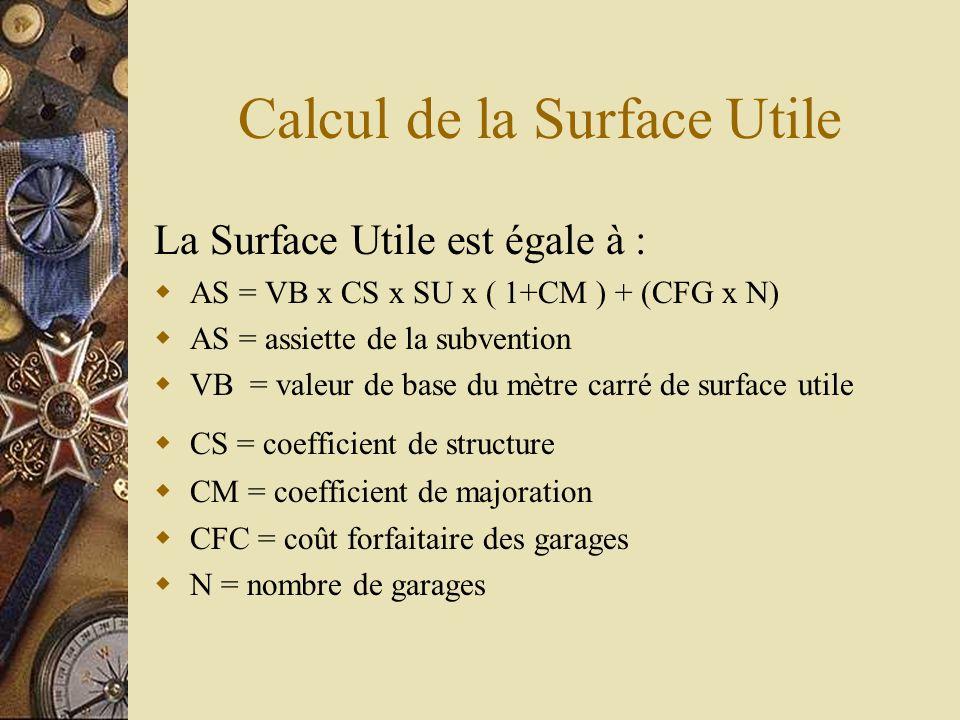 Calcul de la Surface Utile La Surface Utile est égale à : AS = VB x CS x SU x ( 1+CM ) + (CFG x N) AS = assiette de la subvention VB = valeur de base