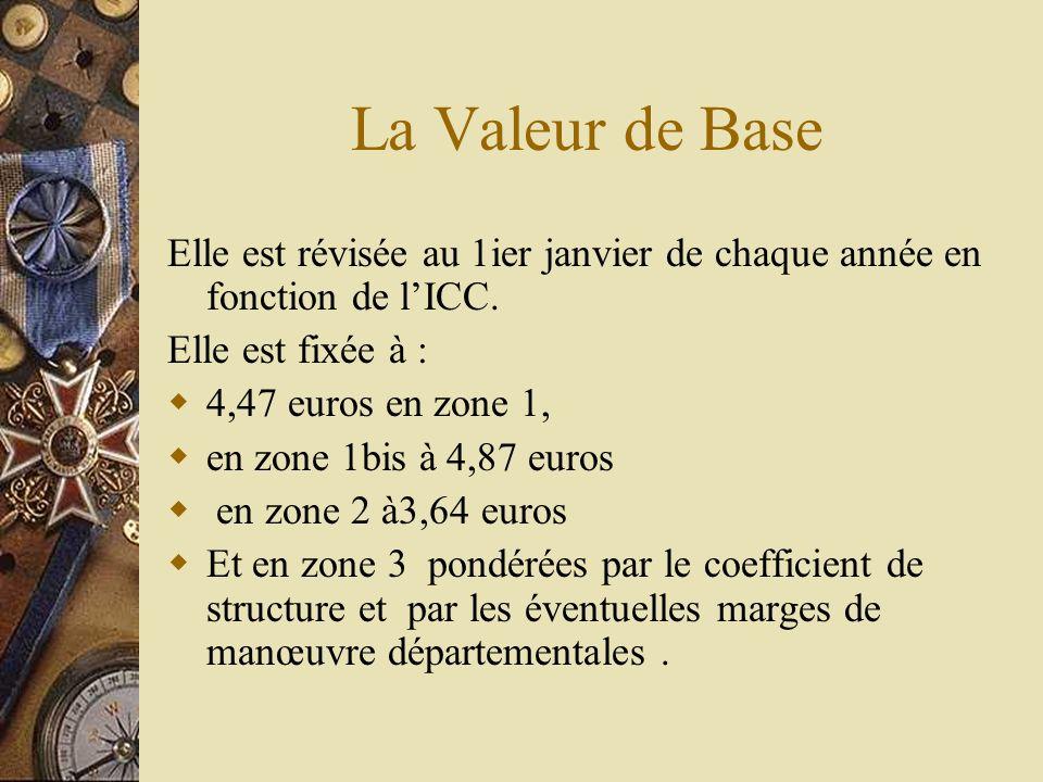 La Valeur de Base Elle est révisée au 1ier janvier de chaque année en fonction de lICC. Elle est fixée à : 4,47 euros en zone 1, en zone 1bis à 4,87 e