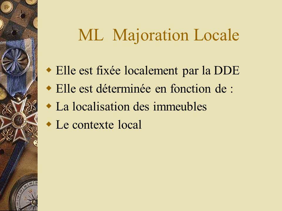 ML Majoration Locale Elle est fixée localement par la DDE Elle est déterminée en fonction de : La localisation des immeubles Le contexte local
