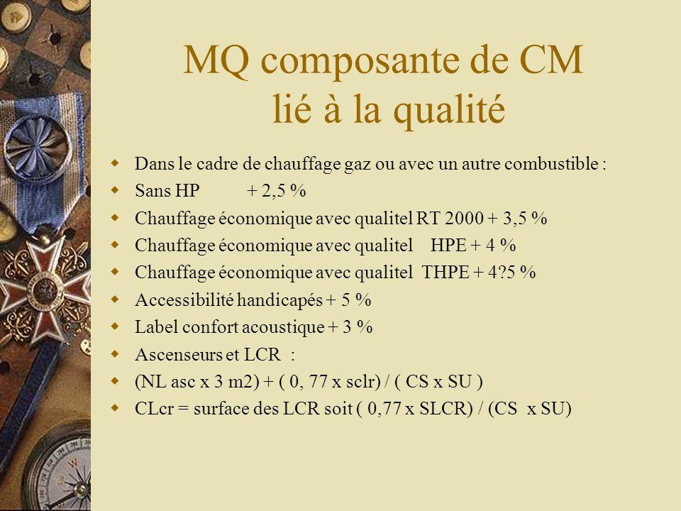 MQ composante de CM lié à la qualité Dans le cadre de chauffage gaz ou avec un autre combustible : Sans HP + 2,5 % Chauffage économique avec qualitel