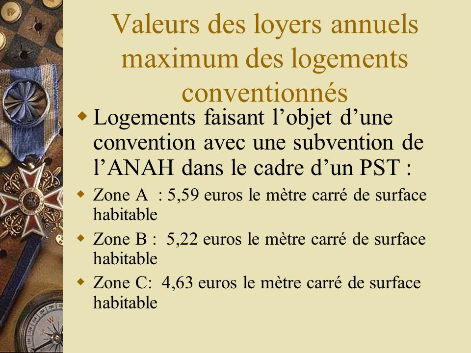 Valeurs des loyers annuels maximum des logements conventionnés Logements faisant lobjet dune convention avec une subvention de lANAH dans le cadre dun