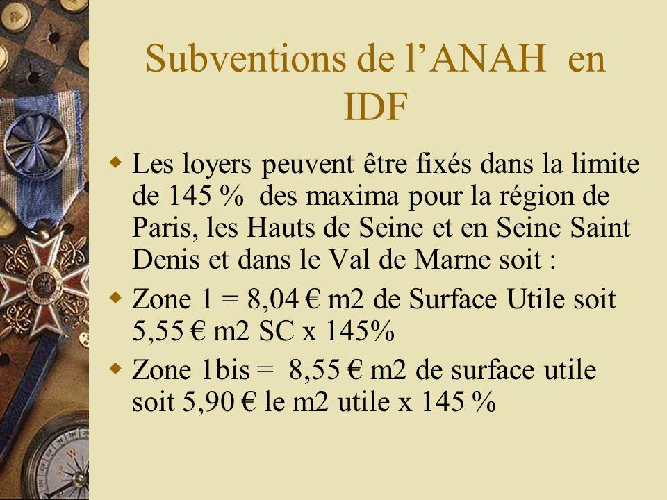 Subventions de lANAH en IDF Les loyers peuvent être fixés dans la limite de 145 % des maxima pour la région de Paris, les Hauts de Seine et en Seine S