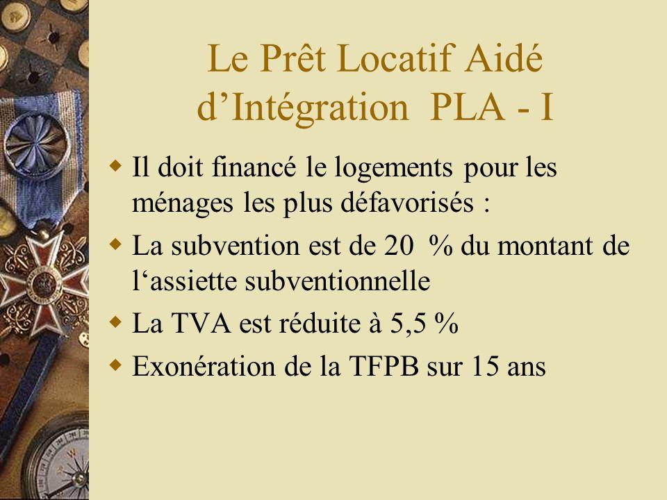 Le Prêt Locatif Aidé dIntégration PLA - I Il doit financé le logements pour les ménages les plus défavorisés : La subvention est de 20 % du montant de