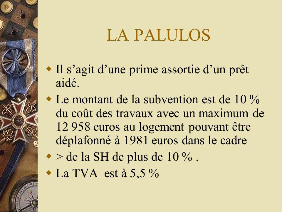 LA PALULOS Il sagit dune prime assortie dun prêt aidé. Le montant de la subvention est de 10 % du coût des travaux avec un maximum de 12 958 euros au