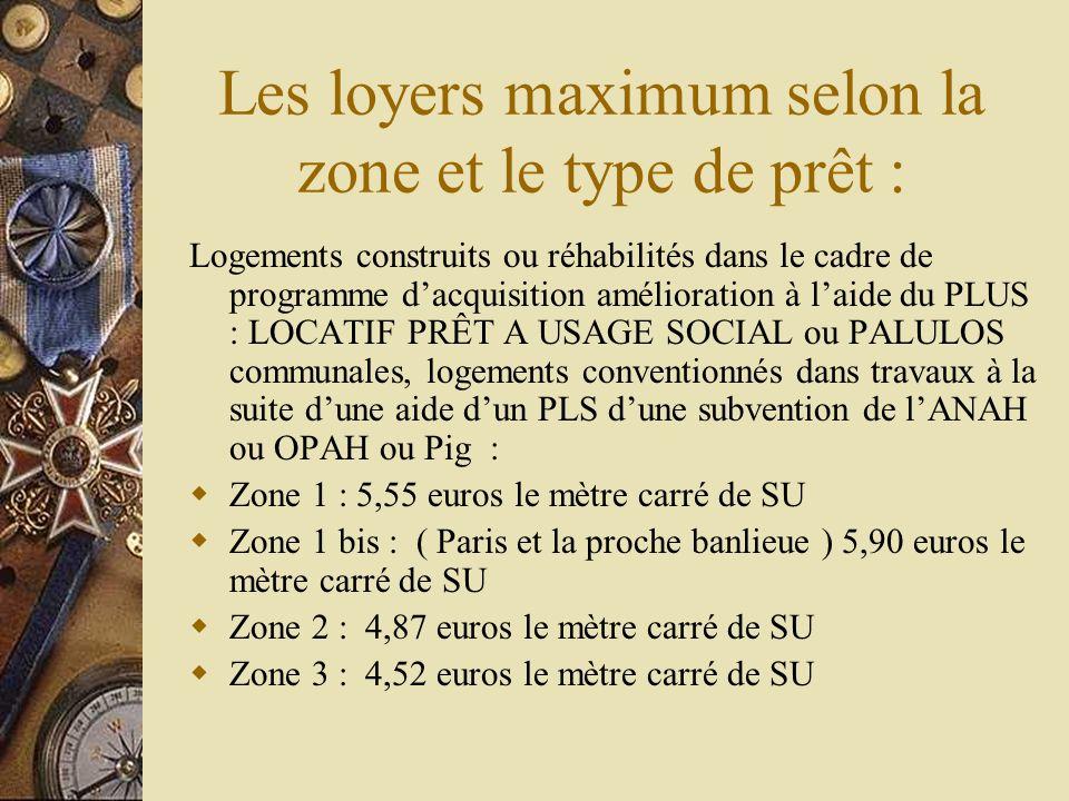 Valeurs des loyers annuels maximum des logements conventionnés Logements conventionnés ayant obtenu une subvention PALULOS communales : Zone 1 : 41 euros le mètre carré annuel de SC Zone 1 bis : ( Paris et la proche banlieue ) 43,48 euros le mètre carré annuel de SC Zone 2 : 36,39 euros le mètre carré annuel de SC Zone 3 : 34,09 euros le mètre carré annuel de SC