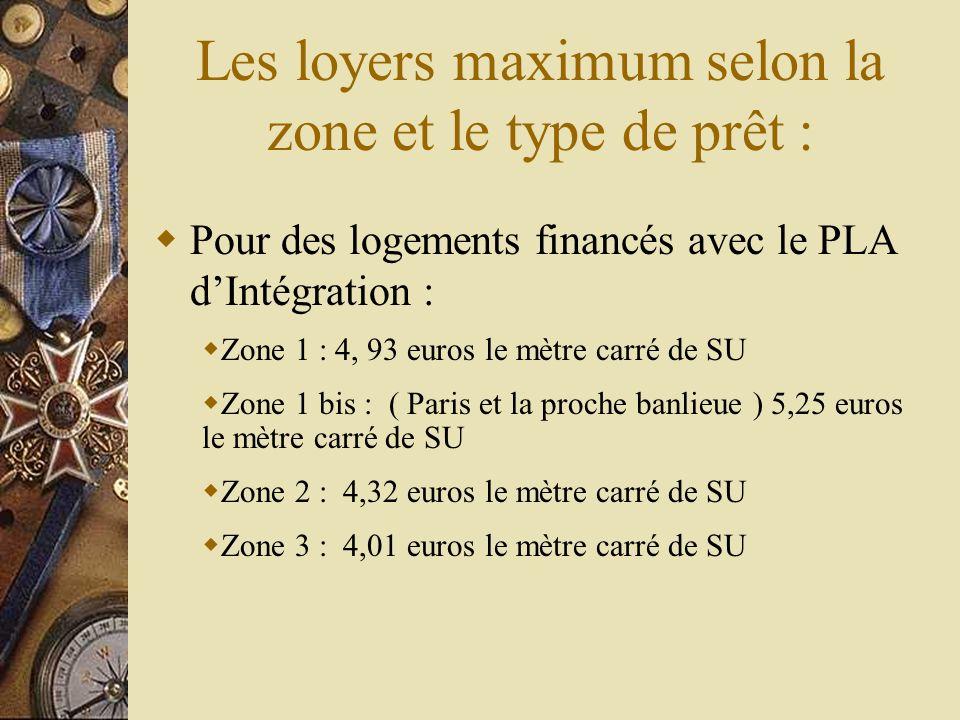 Les loyers maximum selon la zone et le type de prêt : Pour des logements financés avec le PLA dIntégration : Zone 1 : 4, 93 euros le mètre carré de SU