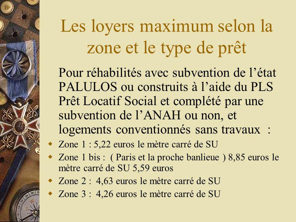 Les loyers maximum selon la zone et le type de prêt Logements construits ou acquis à laide du prêt conventionné locatif : Zone 1 : 6,18 euros le mètre carré de SU Zone 1 bis : ( Paris et la proche banlieue ) 6,56 euros le mètre carré de SU Zone 2 : 5,40 euros le mètre carré de SU Zone 3 : 5,02 euros le mètre carré de SU