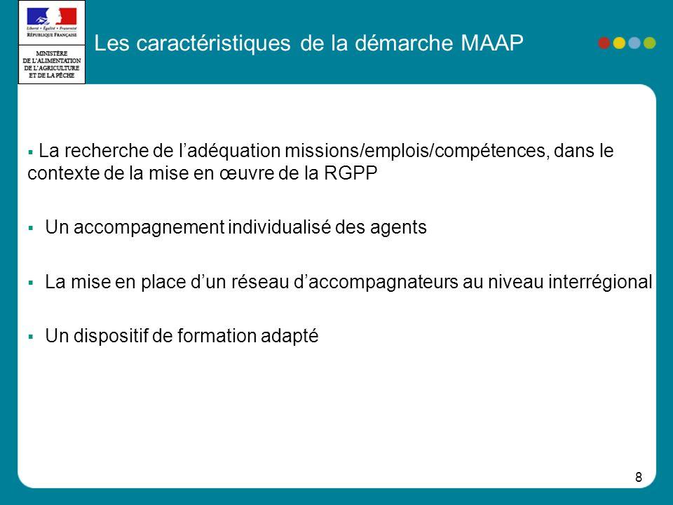 8 La recherche de ladéquation missions/emplois/compétences, dans le contexte de la mise en œuvre de la RGPP Un accompagnement individualisé des agents La mise en place dun réseau daccompagnateurs au niveau interrégional Un dispositif de formation adapté Les caractéristiques de la démarche MAAP