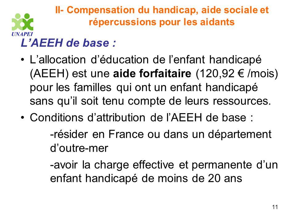 11 II- Compensation du handicap, aide sociale et répercussions pour les aidants LAEEH de base : Lallocation déducation de lenfant handicapé (AEEH) est