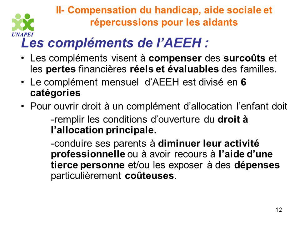 12 II- Compensation du handicap, aide sociale et répercussions pour les aidants Les compléments de lAEEH : Les compléments visent à compenser des surc