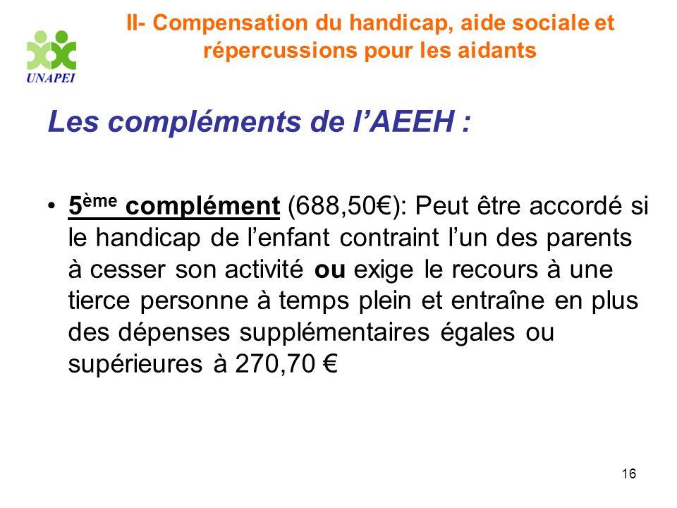 16 II- Compensation du handicap, aide sociale et répercussions pour les aidants Les compléments de lAEEH : 5 ème complément (688,50): Peut être accord