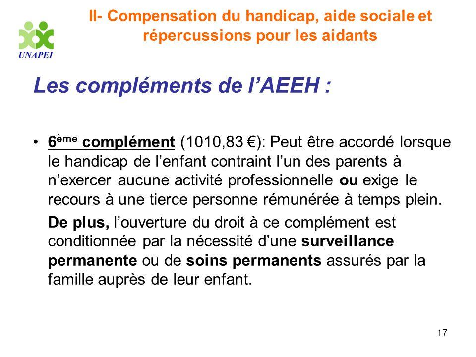 17 II- Compensation du handicap, aide sociale et répercussions pour les aidants Les compléments de lAEEH : 6 ème complément (1010,83 ): Peut être acco