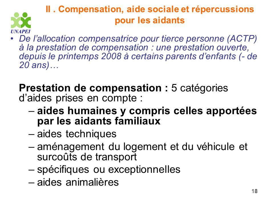 18 II. Compensation, aide sociale et répercussions pour les aidants De lallocation compensatrice pour tierce personne (ACTP) à la prestation de compen