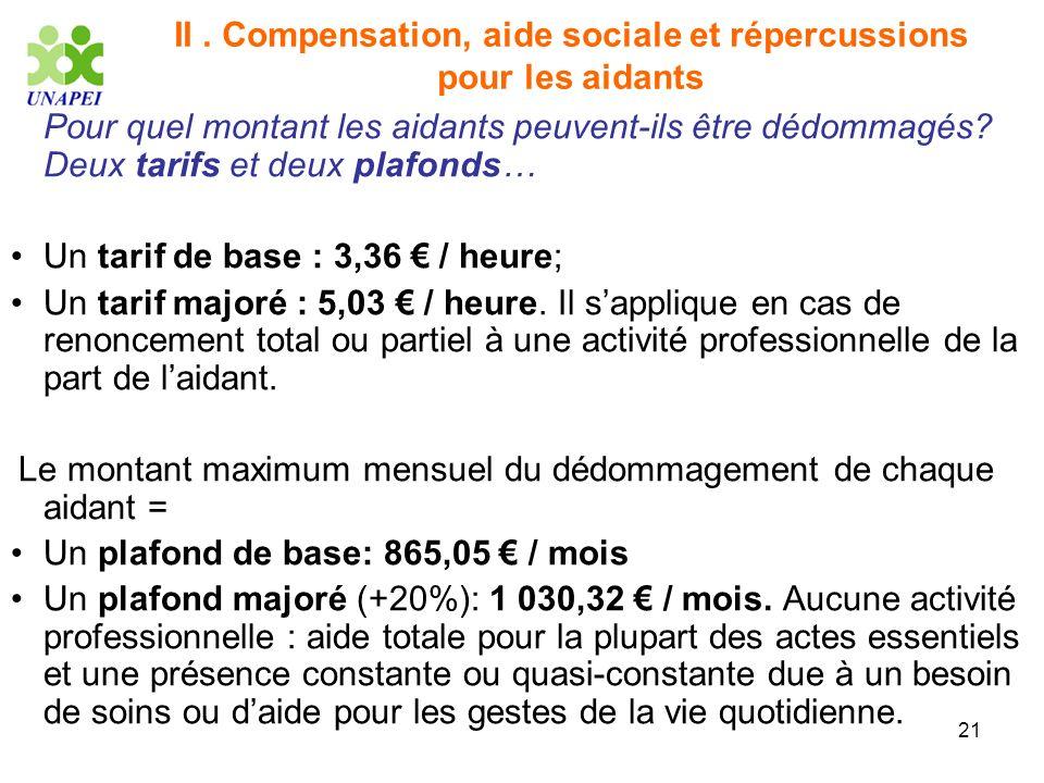 21 II. Compensation, aide sociale et répercussions pour les aidants Pour quel montant les aidants peuvent-ils être dédommagés? Deux tarifs et deux pla