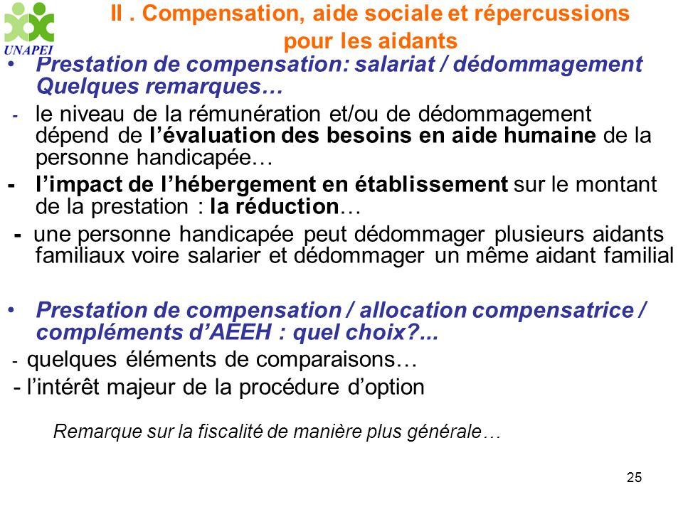 25 II. Compensation, aide sociale et répercussions pour les aidants Prestation de compensation: salariat / dédommagement Quelques remarques… - le nive