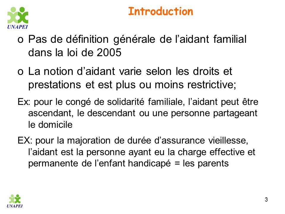 3 Introduction oPas de définition générale de laidant familial dans la loi de 2005 oLa notion daidant varie selon les droits et prestations et est plu