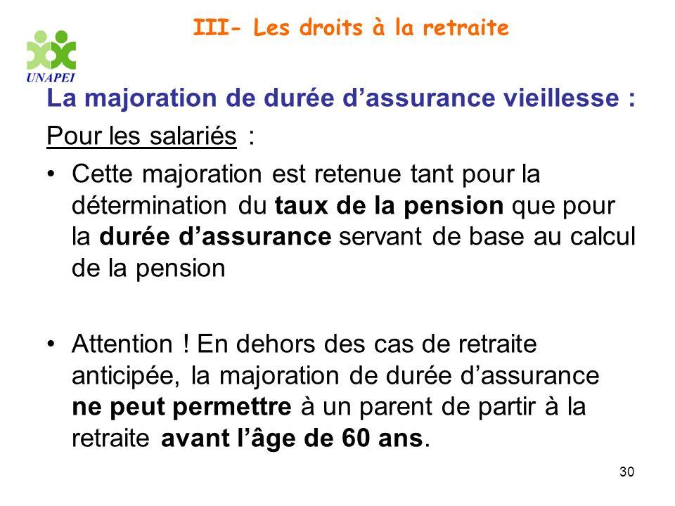30 III- Les droits à la retraite La majoration de durée dassurance vieillesse : Pour les salariés : Cette majoration est retenue tant pour la détermin