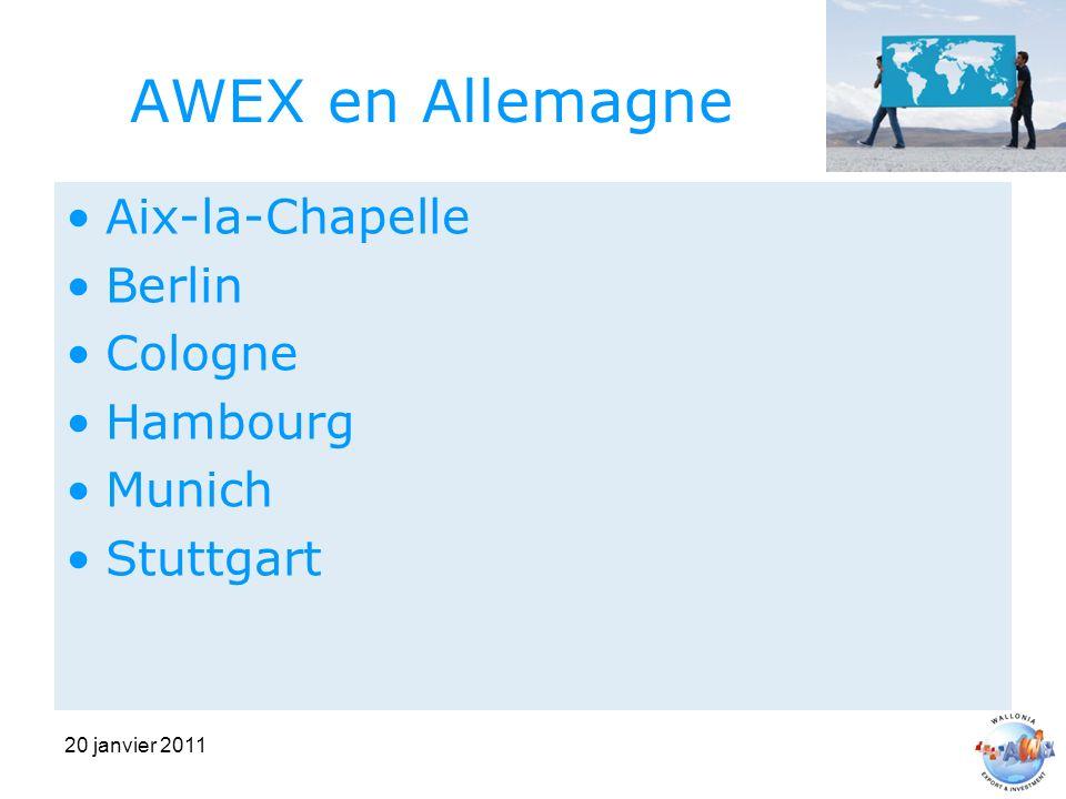 20 janvier 2011 AWEX en Allemagne Aix-la-Chapelle Berlin Cologne Hambourg Munich Stuttgart