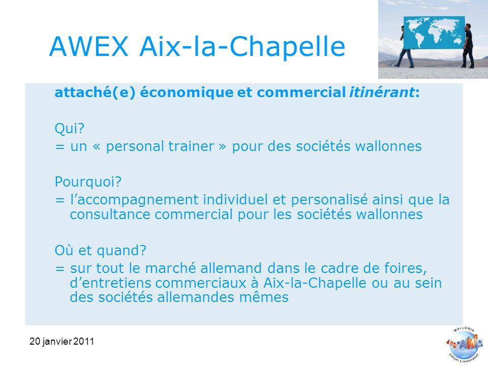 20 janvier 2011 AWEX Aix-la-Chapelle attaché(e) économique et commercial itinérant: Qui.