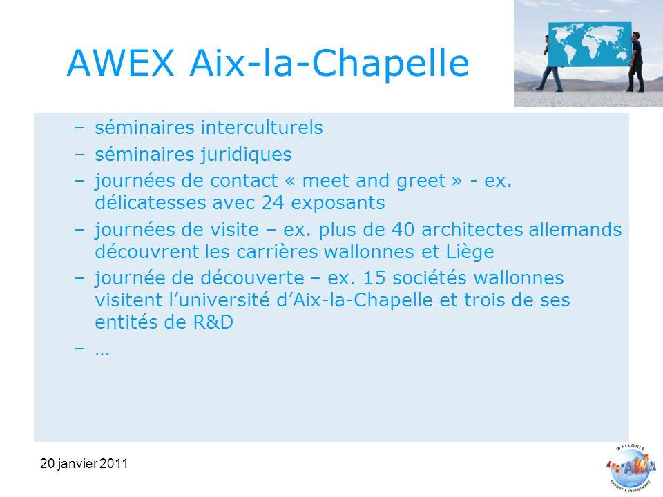 20 janvier 2011 AWEX Aix-la-Chapelle –séminaires interculturels –séminaires juridiques –journées de contact « meet and greet » - ex.