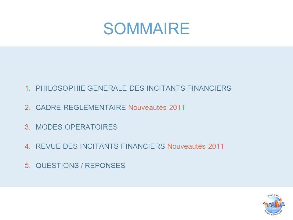 SOMMAIRE 1.PHILOSOPHIE GENERALE DES INCITANTS FINANCIERS 2.CADRE REGLEMENTAIRE Nouveautés 2011 3.MODES OPERATOIRES 4.REVUE DES INCITANTS FINANCIERS Nouveautés 2011 5.QUESTIONS / REPONSES