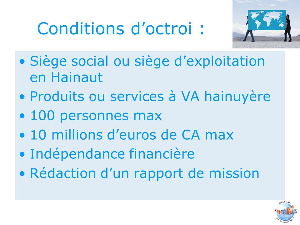 Conditions doctroi : Siège social ou siège dexploitation en Hainaut Produits ou services à VA hainuyère 100 personnes max 10 millions deuros de CA max Indépendance financière Rédaction dun rapport de mission