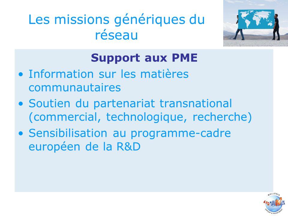 Les missions génériques du réseau Support aux PME Information sur les matières communautaires Soutien du partenariat transnational (commercial, technologique, recherche) Sensibilisation au programme-cadre européen de la R&D