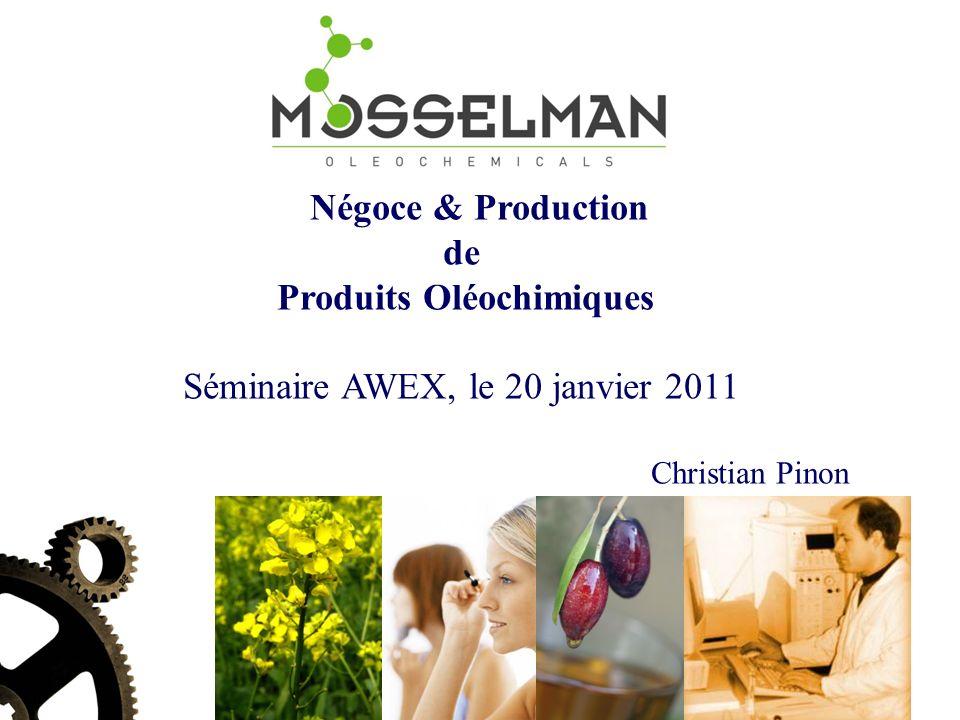 Négoce & Production de Produits Oléochimiques Séminaire AWEX, le 20 janvier 2011 Christian Pinon