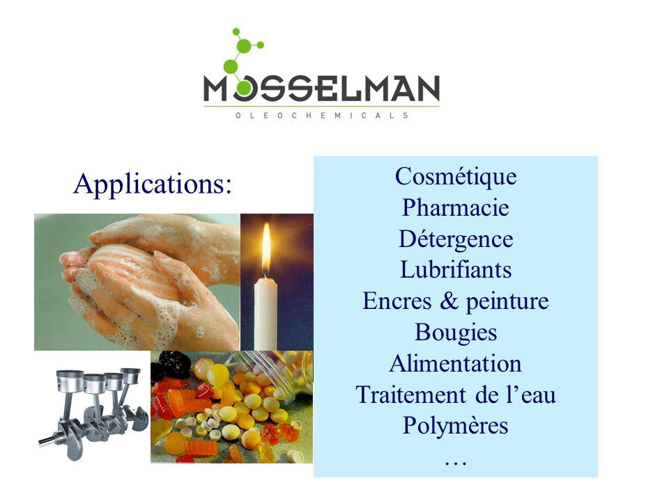 Cosmétique Pharmacie Détergence Lubrifiants Encres & peinture Bougies Alimentation Traitement de leau Polymères … Applications: