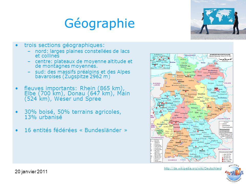 20 janvier 2011 Géographie trois sections géographiques: –nord: larges plaines constellées de lacs et collines –centre: plateaux de moyenne altitude et de montagnes moyennes.