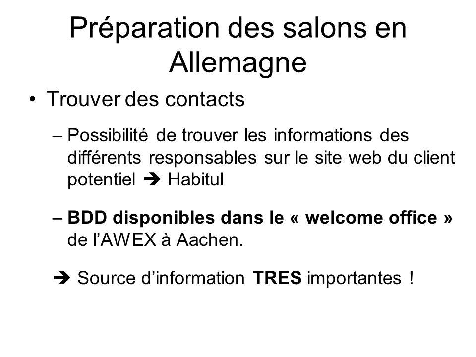 Préparation des salons en Allemagne Trouver des contacts –Possibilité de trouver les informations des différents responsables sur le site web du client potentiel Habitul –BDD disponibles dans le « welcome office » de lAWEX à Aachen.