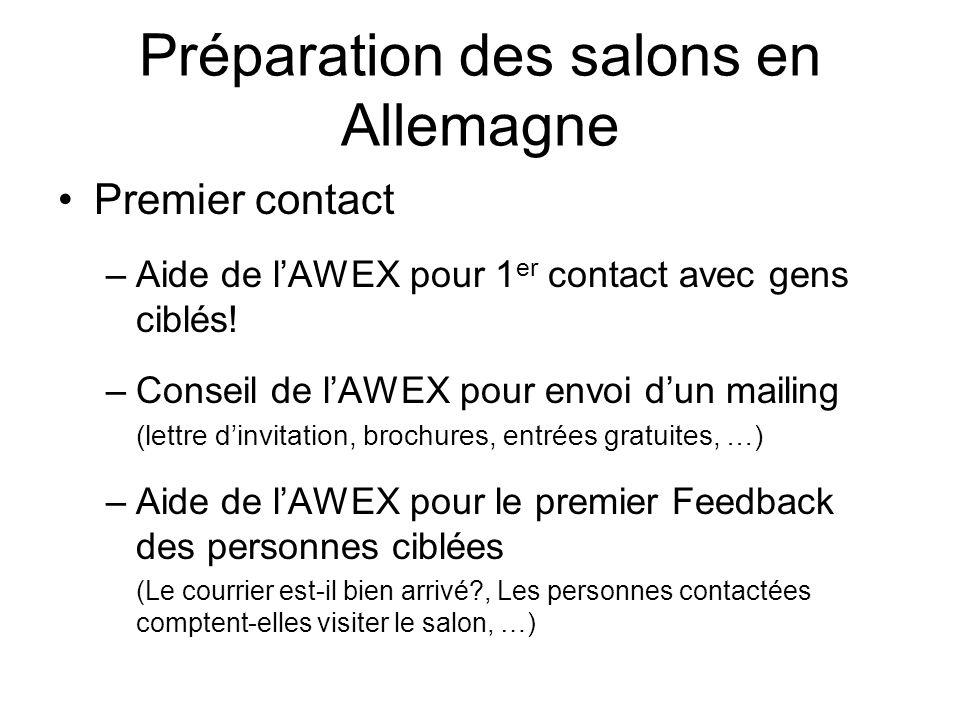 Préparation des salons en Allemagne Premier contact –Aide de lAWEX pour 1 er contact avec gens ciblés.
