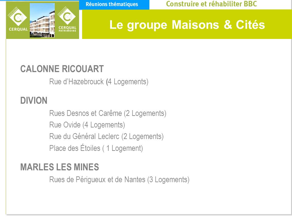 Le groupe Maisons & Cités CALONNE RICOUART Rue dHazebrouck ( 4 Logements) DIVION Rues Desnos et Carême (2 Logements) Rue Ovide (4 Logements) Rue du Gé