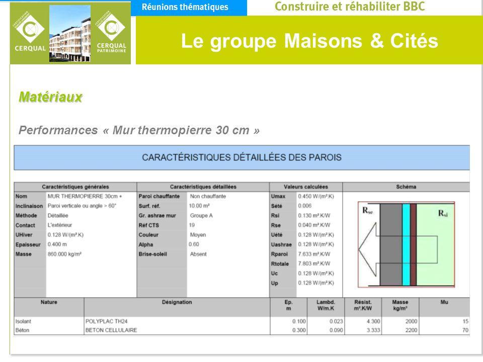 Le groupe Maisons & Cités Matériaux Performances « Mur thermopierre 30 cm »