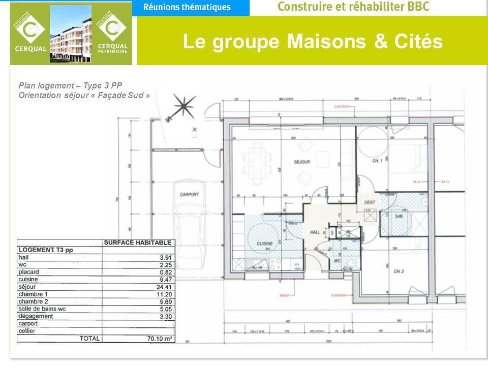 Le groupe Maisons & Cités Plan logement – Type 3 PP Orientation séjour « Façade Sud »