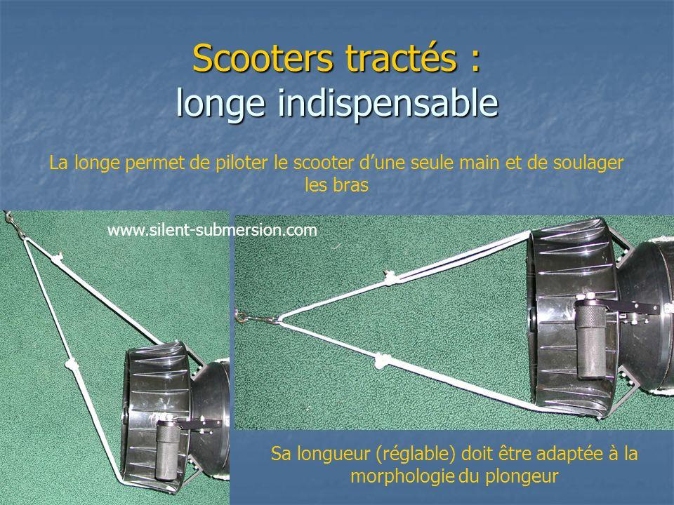 Scooters tractés : longe indispensable La longe permet de piloter le scooter dune seule main et de soulager les bras Sa longueur (réglable) doit être