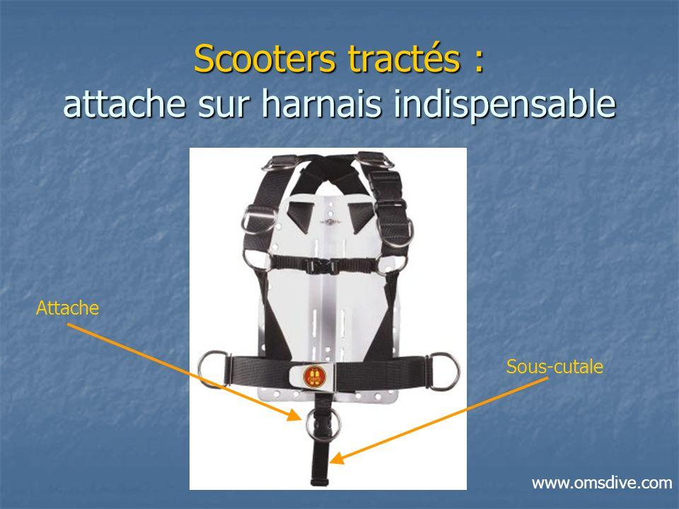 Scooters tractés : attache sur harnais indispensable Attache Sous-cutale www.omsdive.com