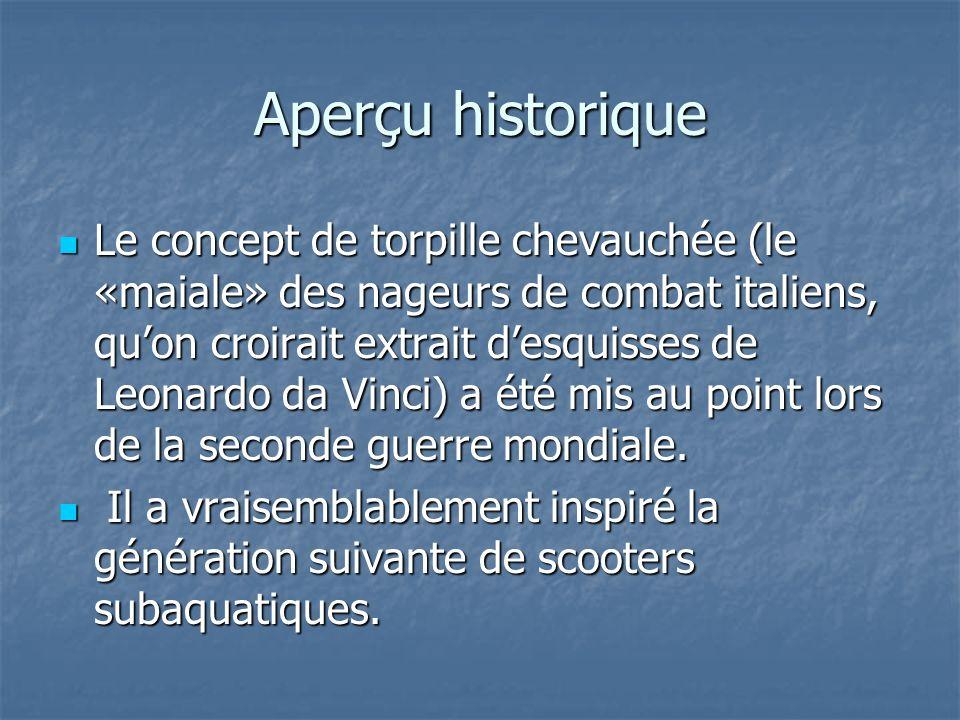 Aperçu historique Le concept de torpille chevauchée (le «maiale» des nageurs de combat italiens, quon croirait extrait desquisses de Leonardo da Vinci