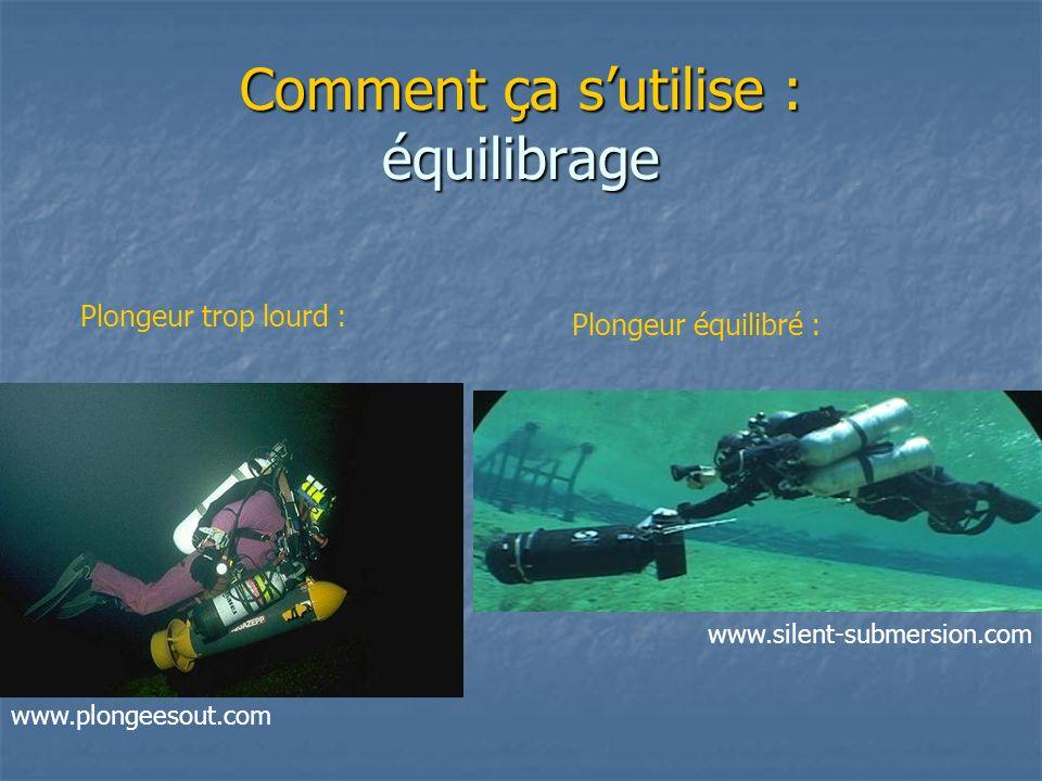 Comment ça sutilise : équilibrage Plongeur trop lourd : Plongeur équilibré : www.plongeesout.com www.silent-submersion.com