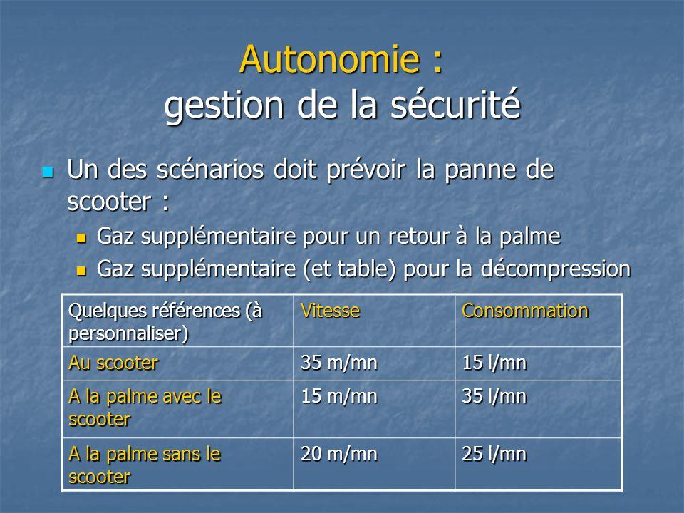 Autonomie : gestion de la sécurité Un des scénarios doit prévoir la panne de scooter : Un des scénarios doit prévoir la panne de scooter : Gaz supplém