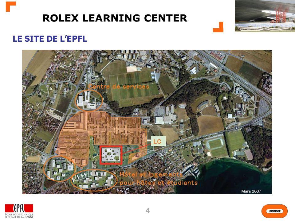 55 160m x 120m 35000m2 yc SS 130000m3 SIA 1 sous-sol (parking) 1 seul étage 14 Patios LE PROJET ROLEX LEARNING CENTER