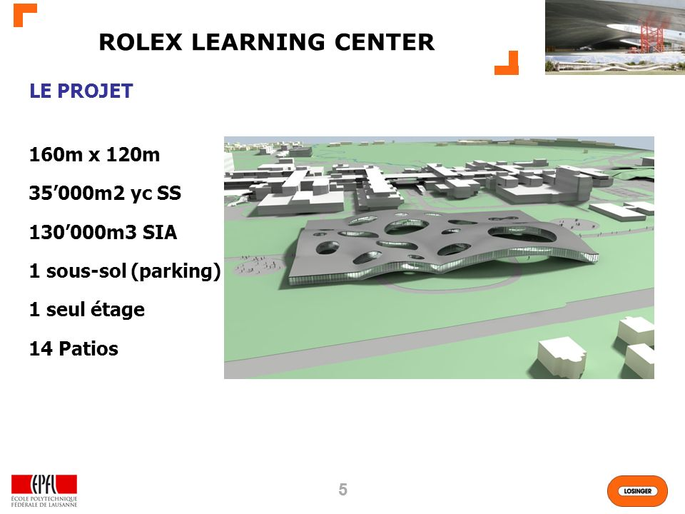 55 160m x 120m 35000m2 yc SS 130000m3 SIA 1 sous-sol (parking) 1 seul étage 14 Patios LE PROJET ROLEX LEARNING CENTER
