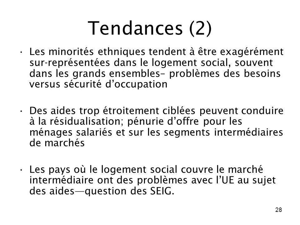 28 Tendances (2) Les minorités ethniques tendent à être exagérément sur-représentées dans le logement social, souvent dans les grands ensembles– probl