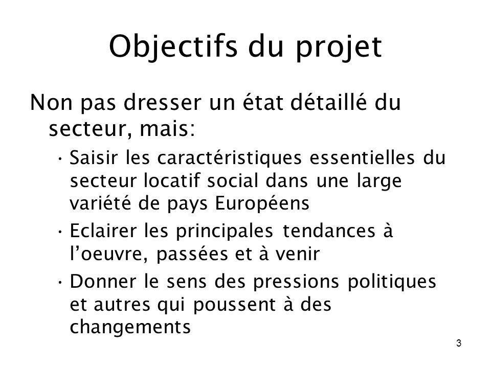 3 Objectifs du projet Non pas dresser un état détaillé du secteur, mais: Saisir les caractéristiques essentielles du secteur locatif social dans une l
