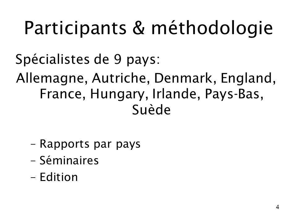 4 Participants & méthodologie Spécialistes de 9 pays: Allemagne, Autriche, Denmark, England, France, Hungary, Irlande, Pays-Bas, Suède –Rapports par p