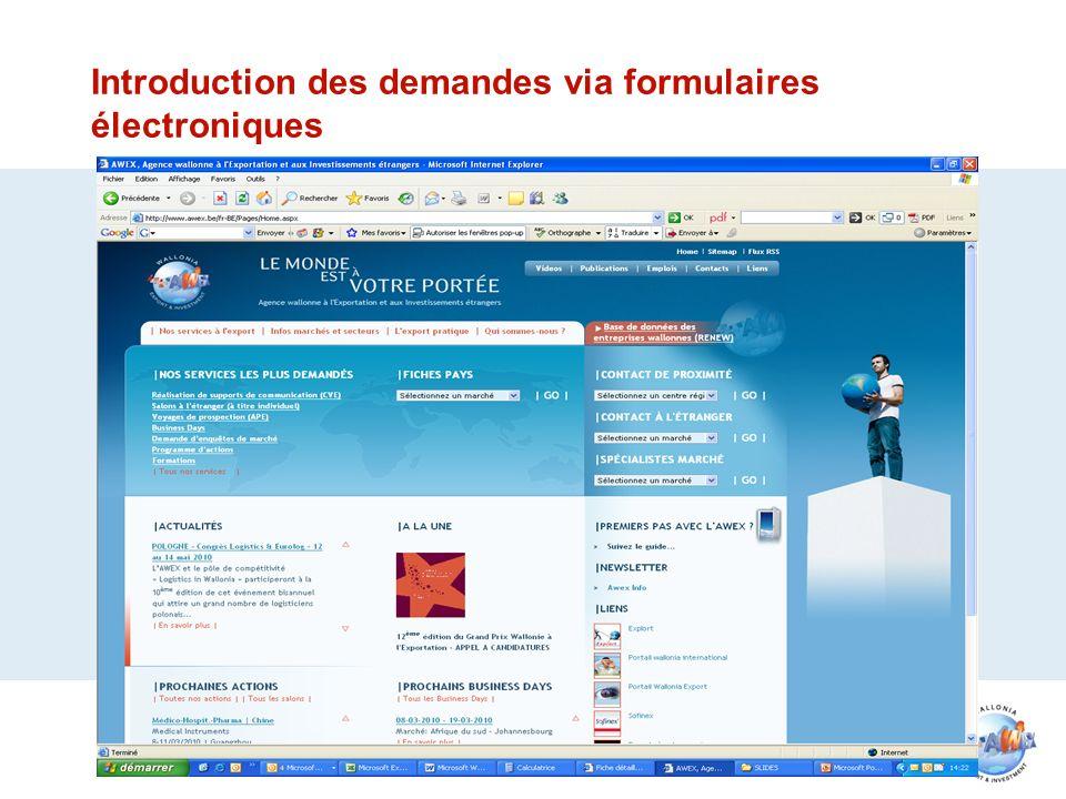 Introduction des demandes via formulaires électroniques