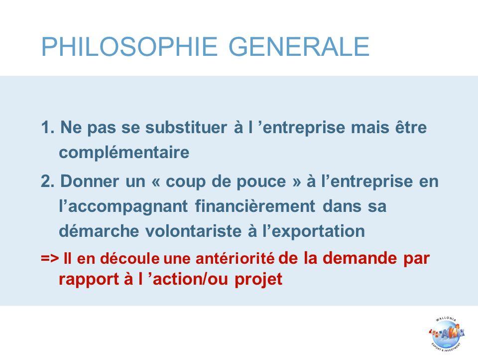 PHILOSOPHIE GENERALE 1. Ne pas se substituer à l entreprise mais être complémentaire 2. Donner un « coup de pouce » à lentreprise en laccompagnant fin